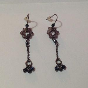 Black Beaded Dangle Fashion Earrings